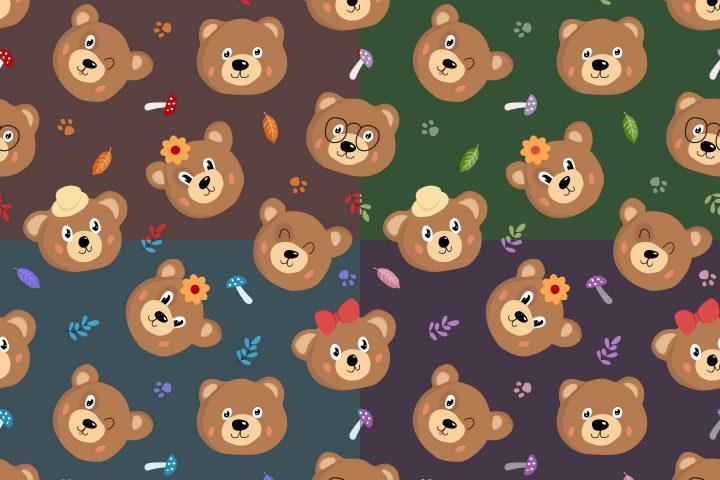 Bears Vector Free Seamless Pattern