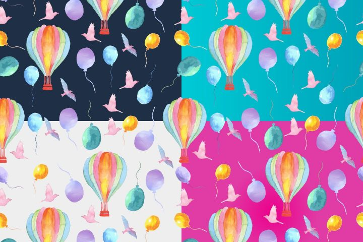Watercolor Summer Holidays Vector Free Pattern