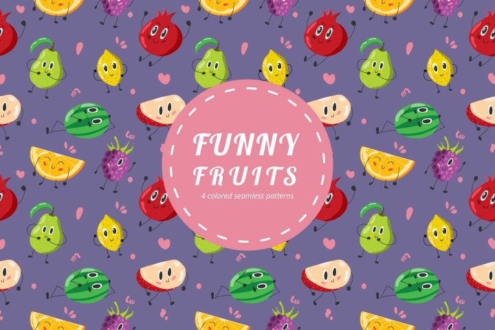 Funny Fruits Vector Free Pattern