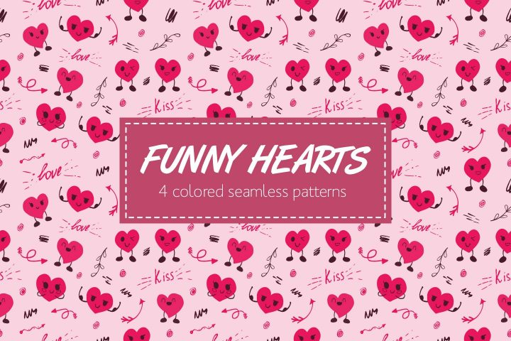 Seamless Funny Hearts Free Pattern