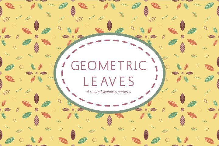 Seamless Geometric Leaves Free Pattern
