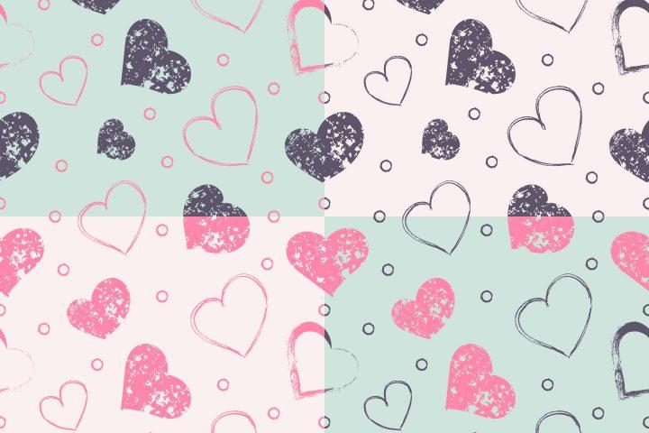 Seamless Grunge Hearts Free Pattern