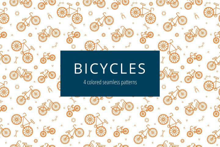 Bicycles Vector Free Pattern