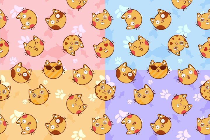Cats Emotions Vector Seamless Pattern