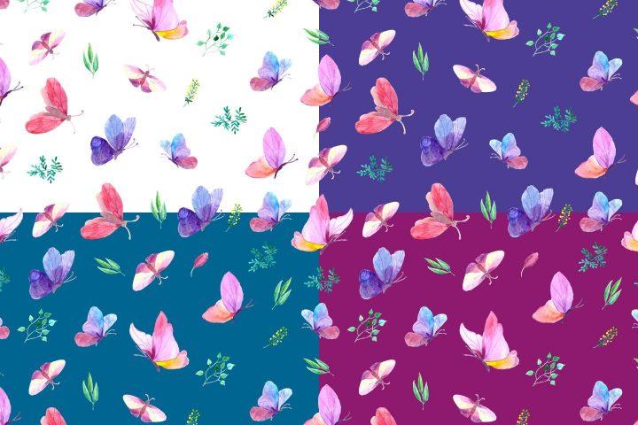 Butterflies Watercolor Vector Free Pattern