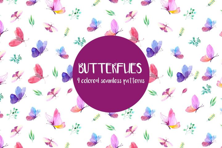 Butterflies Watercolor Vector Free Pattern