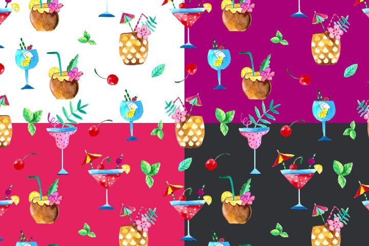 Cocktails Watercolor Vector Seamless Free Pattern
