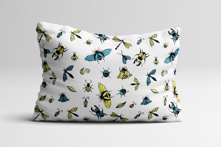 Insects Illustration Vector Free Pattern