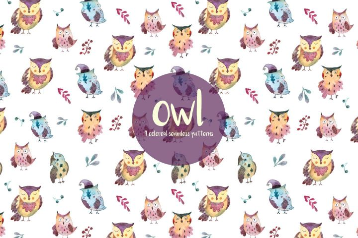 Owls Watercolor Vector Seamless Free Pattern