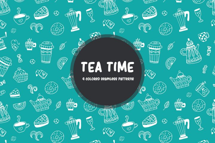 Tea Time Vector Seamless Free Pattern