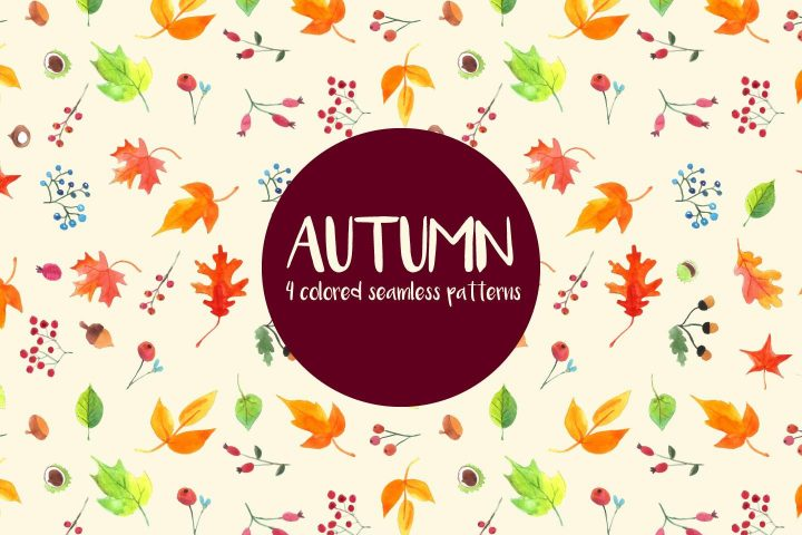 Watercolor Autumn Vector Free Seamless Pattern