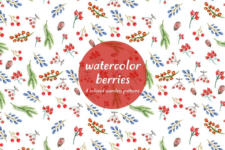 Watercolor Berries Vector Seamless Free Pattern