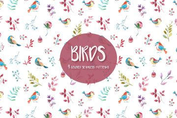 Watercolor Birds Vector Free Seamless Pattern