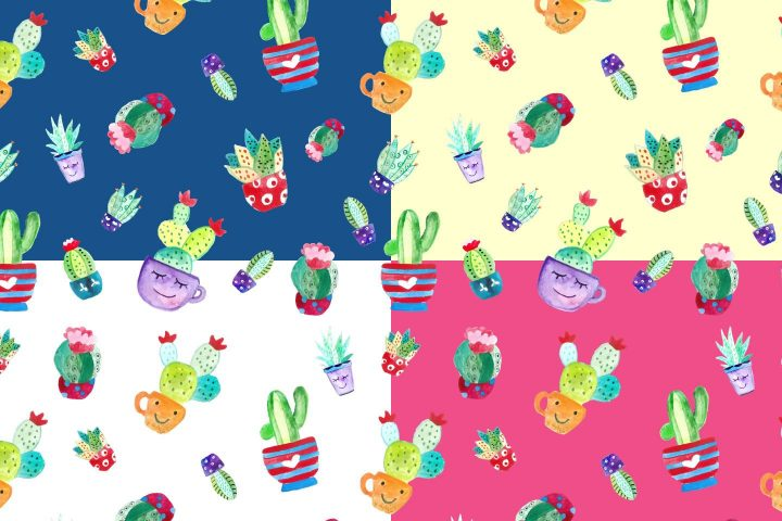 Watercolor Funny Cactus Vector Free Pattern