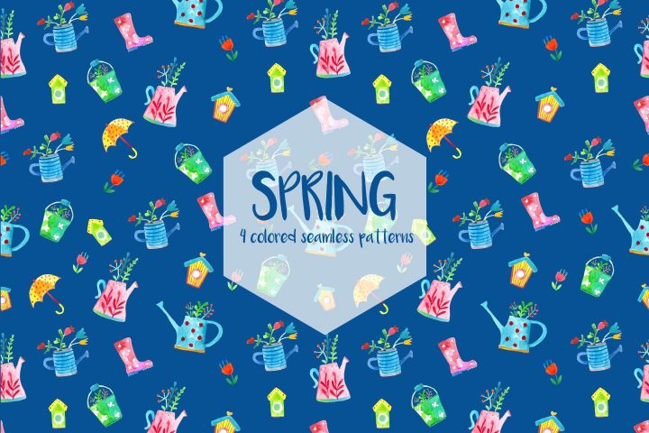 Watercolor Spring Vector Free Seamless Pattern