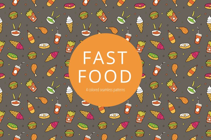 Fast Food Vector Free Seamless Pattern