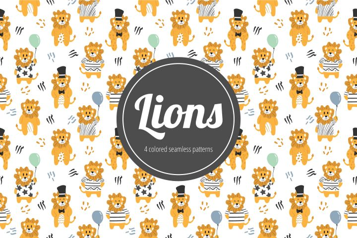 Lions Vector Seamless Free Pattern
