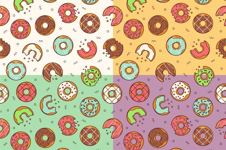 Sweet Donuts Vector Free Seamless Pattern