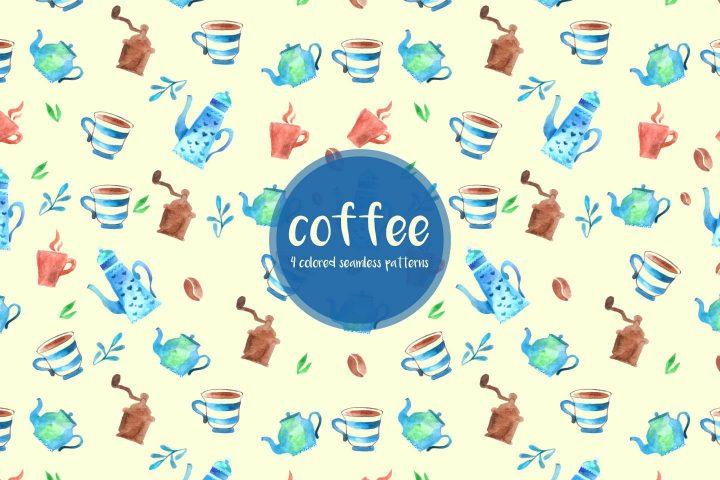 Watercolor Coffee Vector Free Pattern