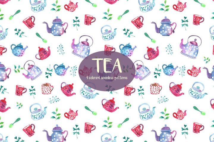 Watercolor Tea Vector Free Pattern