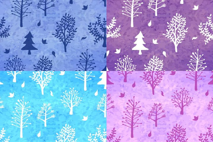 Watercolor Trees Vector Seamless Free Pattern