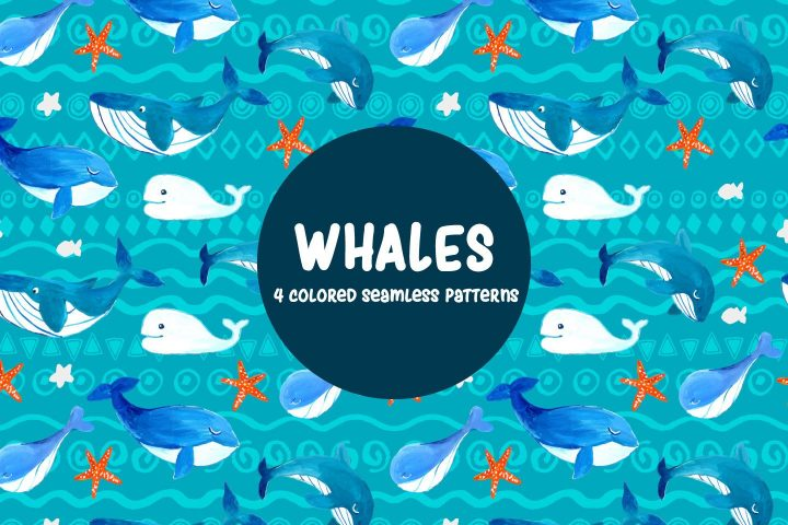 Whales Illustration Vector Free Pattern