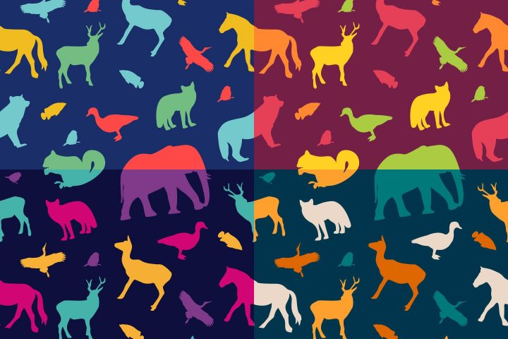 Animal Silhouettes Vector Free Pattern