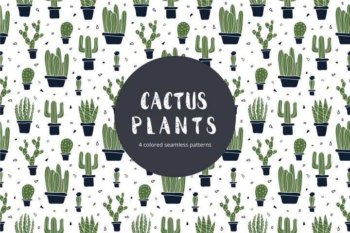Cactus Plants Vector Free Seamless Pattern