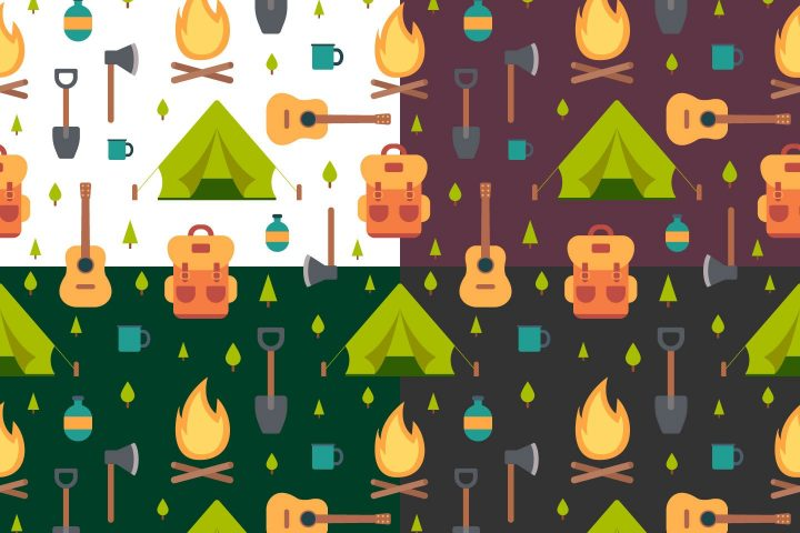 Camping Vector Seamless Pattern