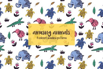 Amusing Animals Illustration Vector Free Pattern