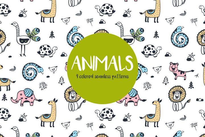 Animals Illustration Vector Free Pattern