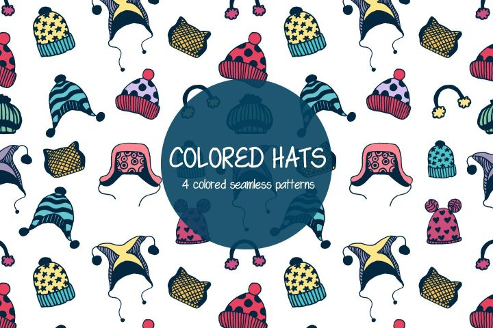 Colored Hats Illustration Vector Free Pattern