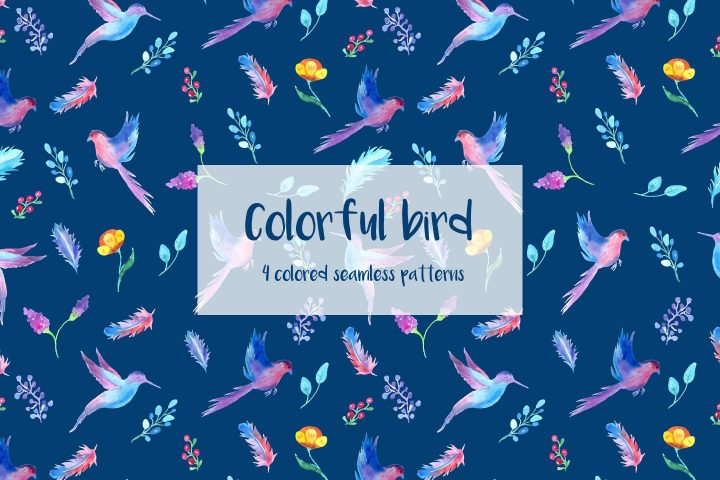 Colorful Bird Illustration Vector Free Pattern