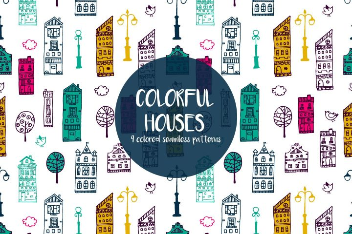 Colorful Houses Vector Seamless Free Pattern