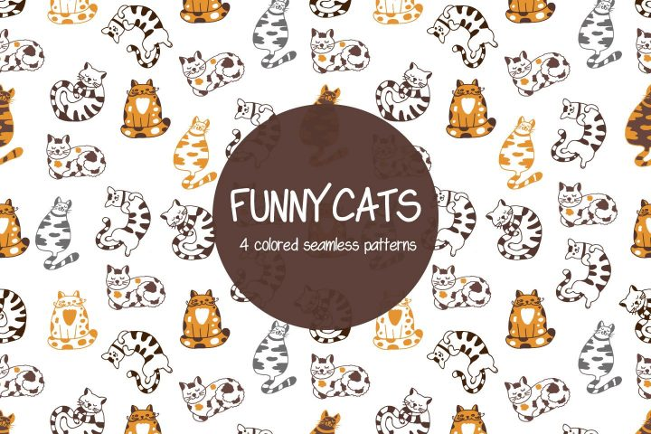 Funny Cats Illustration Vector Free Pattern
