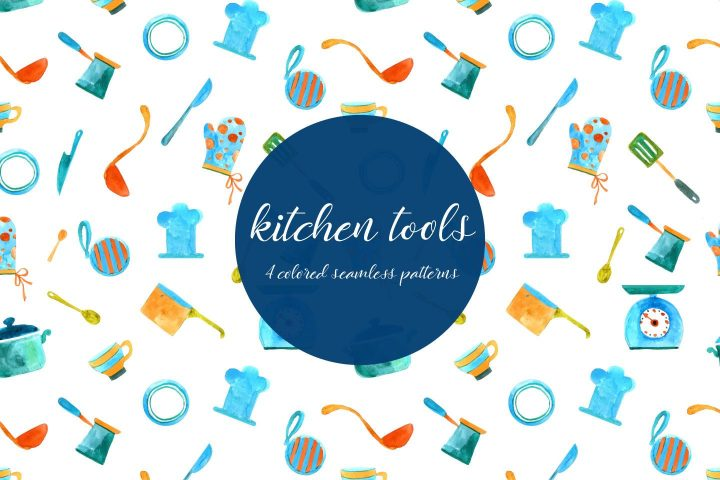 Kitchen Tools Illustration Vector Free Pattern
