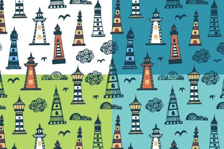 Lighthouses Illustration Vector Free Pattern