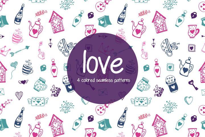 Love Illustration Vector Free Pattern