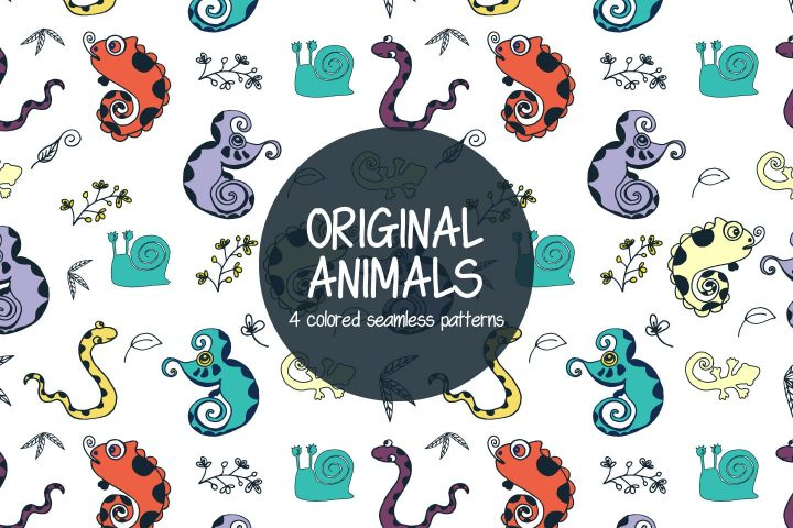 Original Animals Illustration Vector Free Pattern