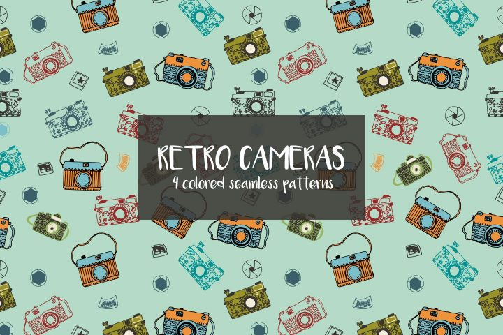 Retro Cameras Vector Free Pattern