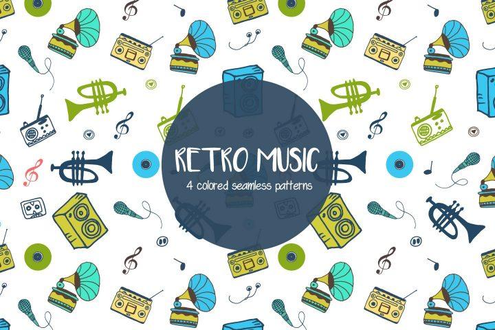 Retro Music Vector Seamless Free Pattern