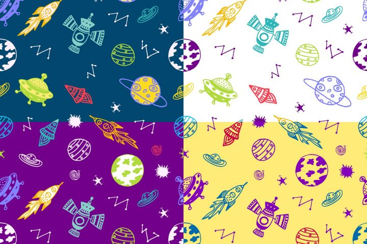 Space Watercolor Vector Free Pattern