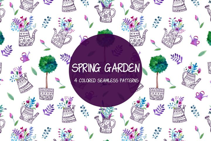 Spring Garden Vector Seamless Free Pattern