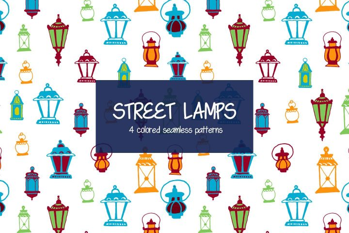 Street Lamps Vector Seamless Free Pattern