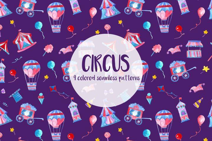 Watercolor Circus Vector Seamless Free Pattern