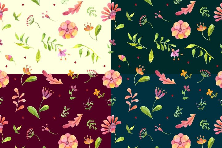 Watercolor Summer Flowers Vector Free Pattern