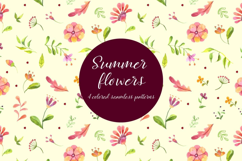 Watercolor Summer Flowers Vector Free Pattern