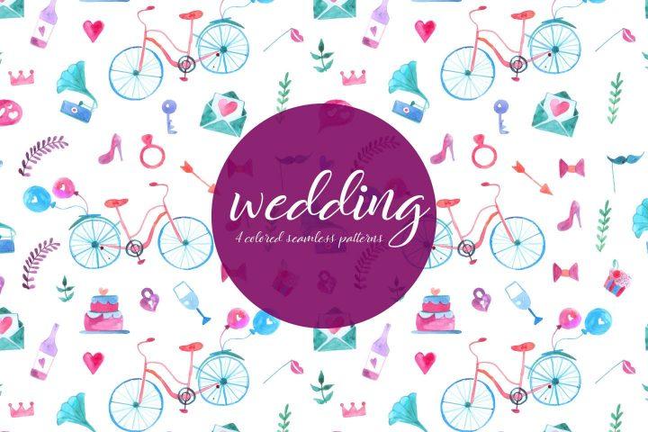 Wedding Watercolor Vector Seamless Free Pattern