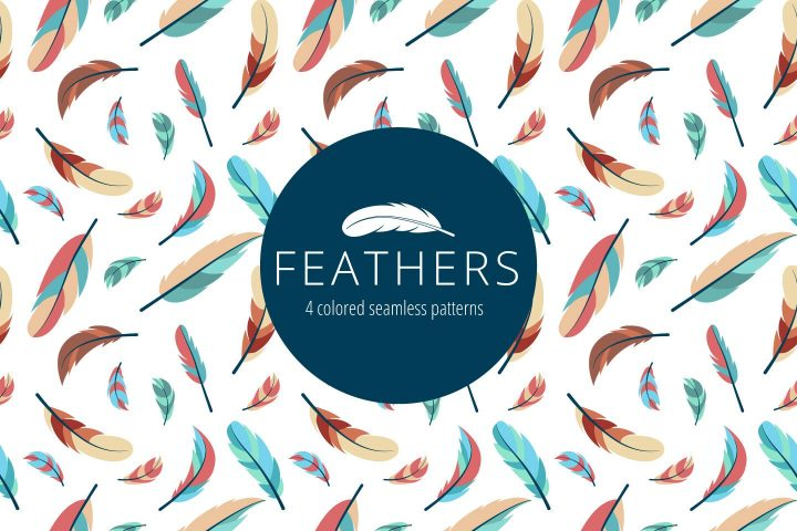 Feathers Vector Free Seamless Pattern