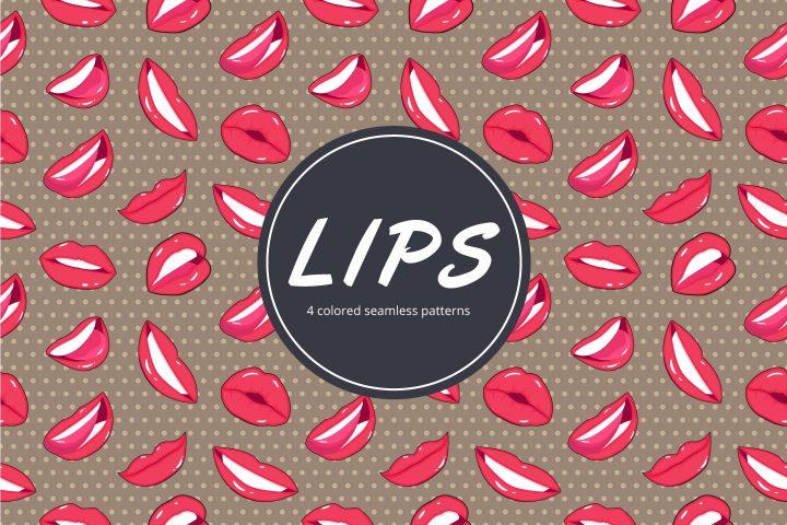 Lips Vector Free Seamless Pattern